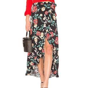 Lovers + Friends Black Floral Maxi Wrap Skirt